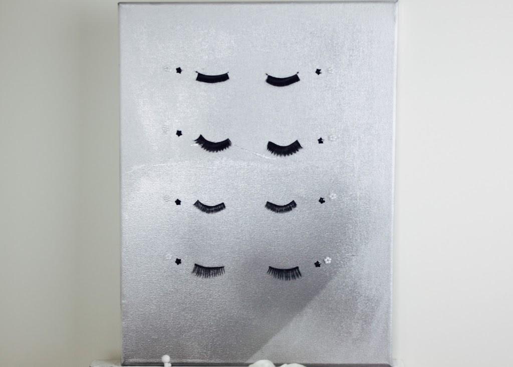diy toile faux cils et peinture argent e the beauty. Black Bedroom Furniture Sets. Home Design Ideas