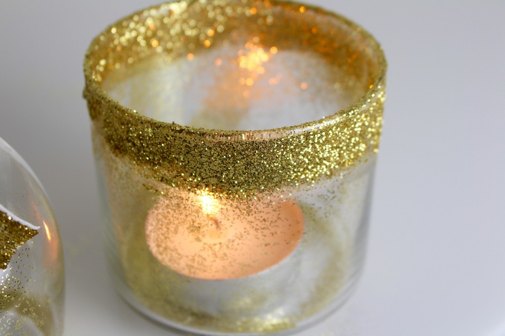 DIY candle bougeoir paillettes glitters